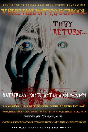Haunted school poster with scary image. Contains information about the event.